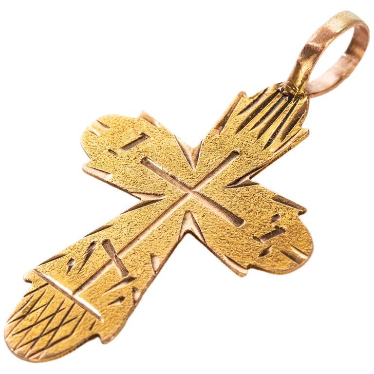 Small Russian Gold Pendant Cross, circa 1900 For Sale