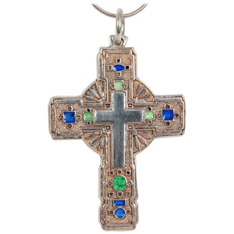 Modern Greek Orthodox Enameled Cross, 20th Century For Sale