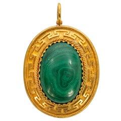 Rare Russian Malachite Gold Pendant, circa 1860