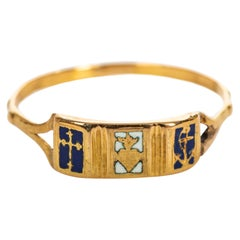 Early Victorian Faith, Love and Hope Enameled Gold Ring, 1830s