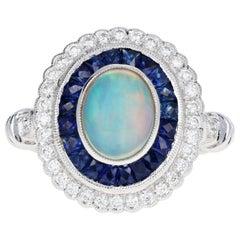 Edwardian Style 18 Karat Gold Opal, Sapphire and Diamond Ring
