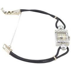 Vintage Swiss Platinum Bracelet Watch with Diamonds