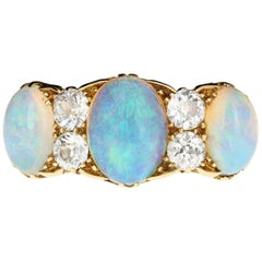 Victorian Gold Opal and Old European Cut Diamond Ring, circa 1895