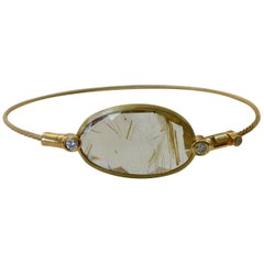 Michael Kneebone Rutilated Quartz Diamond Bangle Bracelet