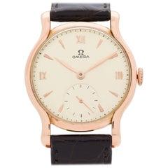 Vintage Omega 18 Karat Rose Gold Watch, 1944