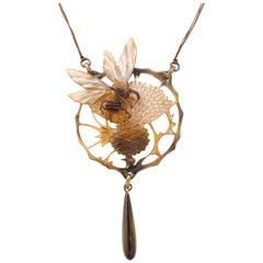Georges Pierre Art Nouveau Carved Horn Pendant