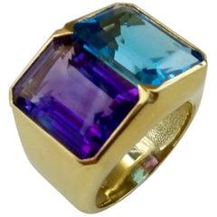 Michael Kneebone Amethyst Blue Topaz Due Pietra Cocktail Ring