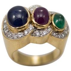 Multi-Stone 18 Karat Yellow Gold Sapphire Ruby and Emerald with Diamonds Ring