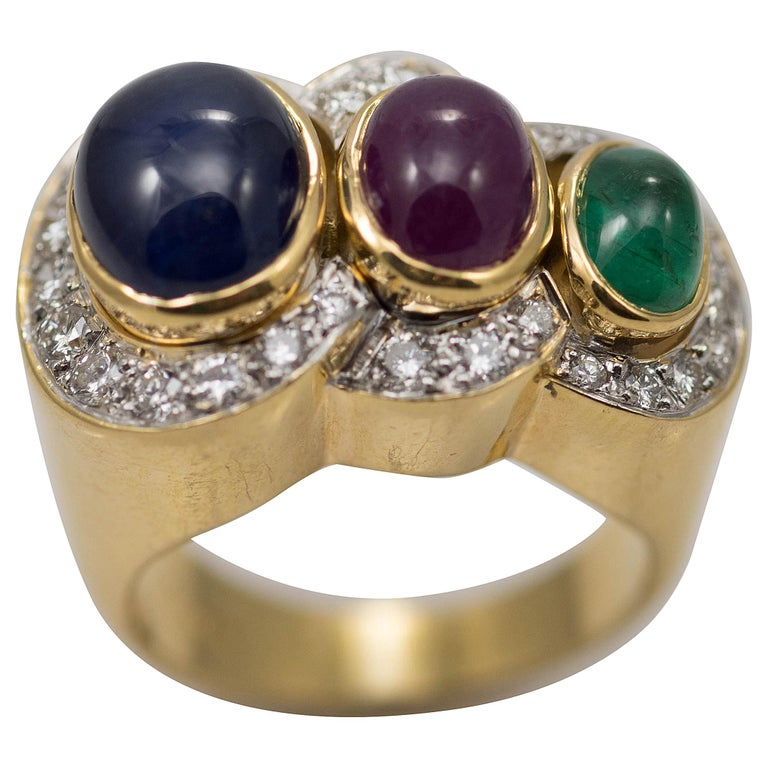 Multi-Stone 18 Karat Yellow Gold Sapphire Ruby and Emerald with Diamonds Ring For Sale