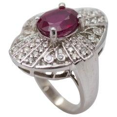Ladies Ruby and 4 Total Carat Weight Diamond Ring in 14 Karat White Gold