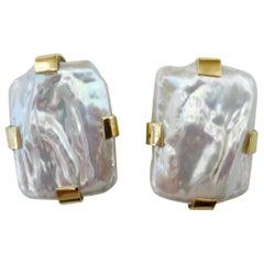 Michael Kneebone White Tile Pearl Button Earrings