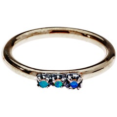 Opal Band Silver Prong Ring Bronze J Dauphin