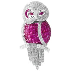 Invisible Mystery Set Ruby and Diamond Owl Pin or Pendant 18 Karat White Gold