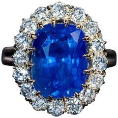 Antique 8.66 Carat Sapphire Diamond Engagement Cluster Ring