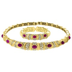 Natural Burma Cabochon Ruby and Diamond Necklace and Bangle Set 18 Karat Gold