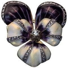 Antique 19th Century Enamel Diamond Gold Pansy Brooch Pin