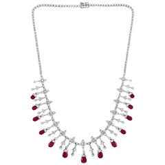 Natural Ruby Briolettes and Diamond Necklace 18 Karat White Gold, Estate