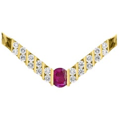 3 Carat Natural Oval Shape Ruby and Diamond Pendant Necklace 18 Karat Gold