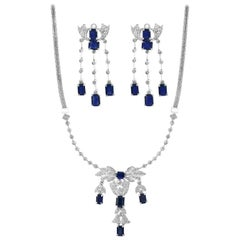 Natural Blue Sapphire and Diamond Necklace 18 Karat White Gold, Suite, Estate