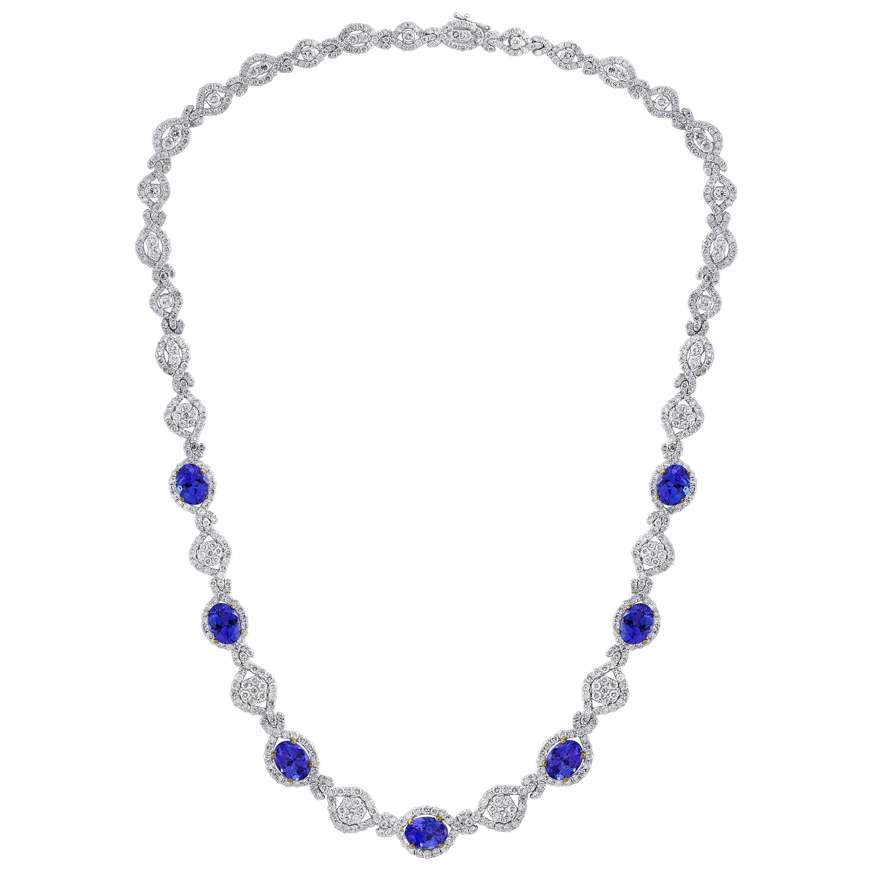 11 Carat Oval Tanzanite and 12 Carat Diamonds Necklace 18 Karat Gold Estate