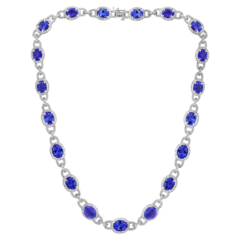 47 Carat Oval Tanzanite and 8 Carat Diamonds Necklace 18 Karat White Gold Estate