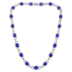 47 Carat Oval Tanzanite and 8 Carat Diamonds Necklace 18 Karat White Gold Estate