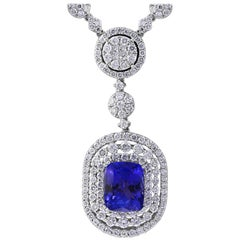 7 Carat Cushion Tanzanite and 13 Carat Diamond Pendant/ Necklace 18 Karat Gold
