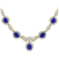 14 Carat Oval Sapphire and 6.5 Carat Diamonds Necklace 18 Karat Yellow Gold
