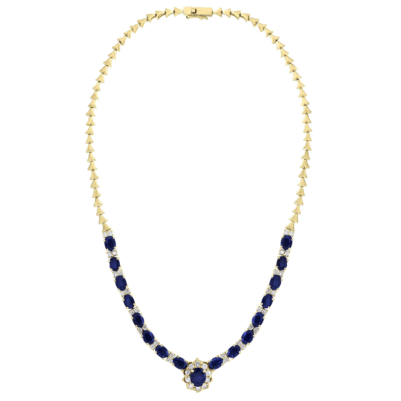 17 Carat Oval Sapphire and 3.5 Carat Diamonds Necklace 18 Karat Yellow Gold