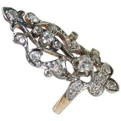 14 Karat Yellow Gold Art Deco 1.0 Carat Diamond Women's Rare Long Ring