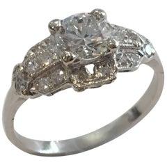 Platinum Vintage Diamond Ring GIA Certified 1.08 Carat