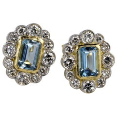 Spectacular 1.0 Carat Natural Aquamarine 1.10 Carat Diamond Earrings
