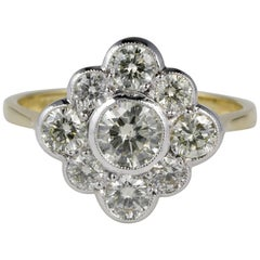 Magnificent Late 1.60 Carat Diamond Platinum Gold Cluster Ring