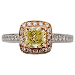 GIA Certified 1.01 Carat Fancy Yellow Diamond Ring