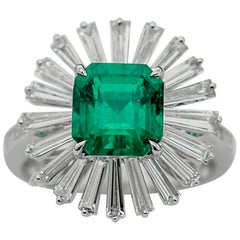 GRS Certified 2.42 Carat Vivid Green Colombian Emerald Ring