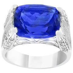 9 Carat Cushion-Cut Tanzanite Ring and Diamonds, 18 Karat White Gold, Estate