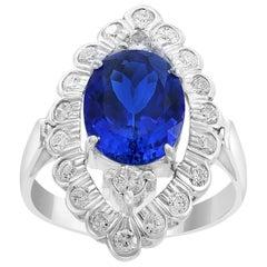 3.65 Carat Oval Tanzanite and 1 Carat Diamond Ring 18 Karat White Gold, Estate
