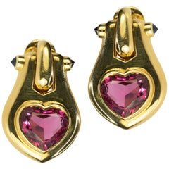 18 Karat Bulgari Heart Shape Tourmaline Earrings