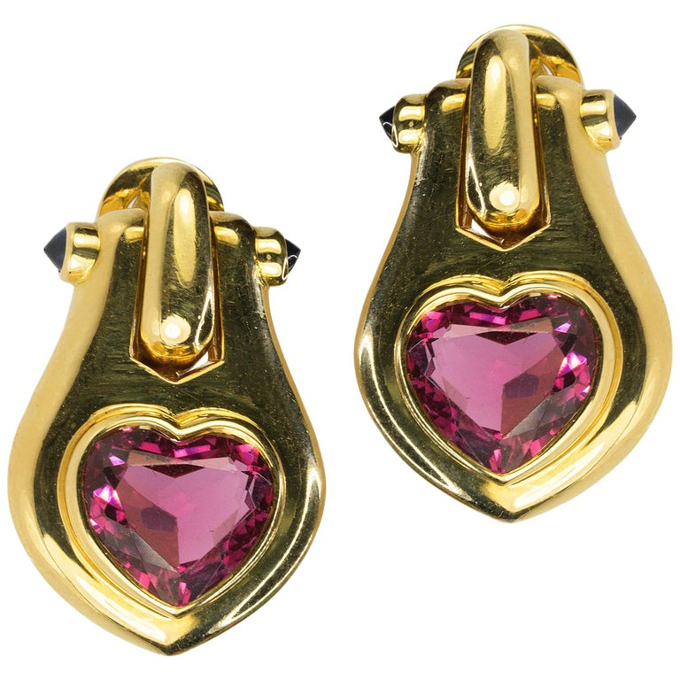 18 Karat Bulgari Heart Shape Tourmaline Earrings