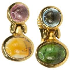 18 Karat Bulgari Multi Gemstone Earrings