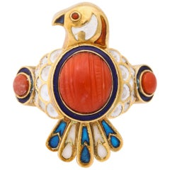 1950s Figural Bird Enamel with Coral and Ruby Gold Cocktail Ring