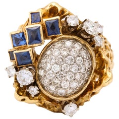 1970s Freeform Design French Cut Sapphires with Diamonds Gold Cocktail Ring
