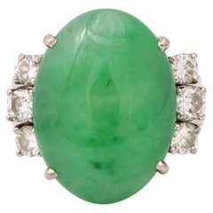 1950s Unisex Oval Cut Beautiful Color Jadeite With Diamonds White Gold Ring