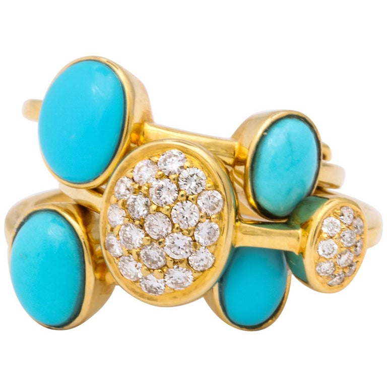 1990s Harem Style Turquoise with Diamonds Triple Flexible Gold Band Rings For Sale