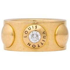 Louis Vuitton 1980s Wide Pellet and Gold with .20 Pt Diamond Band