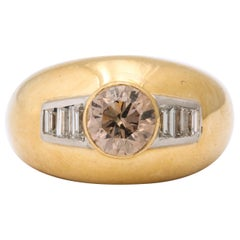 1960 David Webb Natural Fancy Color Light Brown Diamond with Baguettes Gold Ring