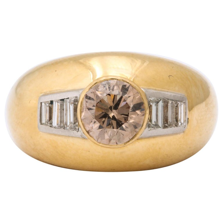 1960 David Webb Natural Fancy Color Light Brown Diamond with Baguettes Gold Ring For Sale