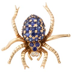 1970s Figural Spider Sapphire and Diamond Gold Brooch