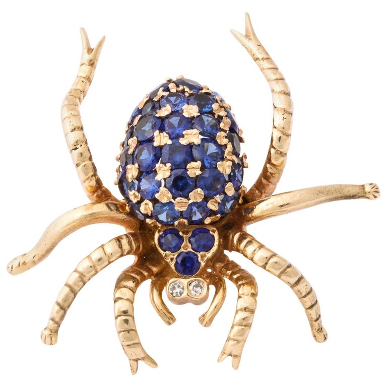 1970s Figural Spider Sapphire and Diamond Gold Brooch For Sale