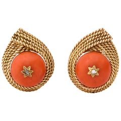 1950s Five-Row Textured Gold Rope Design Coral and Diamond Clip-On Earrings